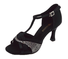 Load image into Gallery viewer, S7380B - Ladies Elite Rhinestone High Performance Dance Sandals in Black Satin
