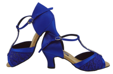 Load image into Gallery viewer, S7390 - Ladies Blue T-Bar Peep Toe Dance Sandal