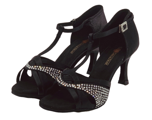 S7380B - Ladies Elite Rhinestone High Performance Dance Sandals in Black Satin