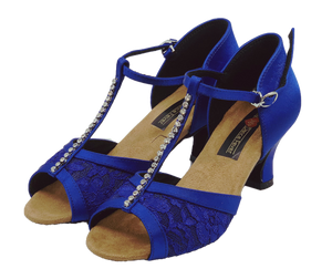 S7390 - Ladies Blue T-Bar Peep Toe Dance Sandal