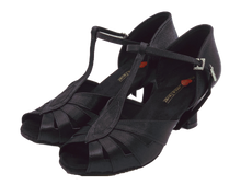 Load image into Gallery viewer, S230B - Ladies Peep Toe Satin T-Bar Dance Sandals in Black