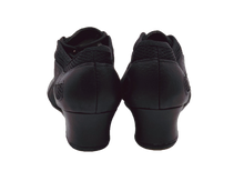 Load image into Gallery viewer, S902 - Ladies Black Leather and Mesh Split-sole Low Cuban Heel Practice Dance Shoes