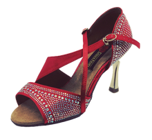 Load image into Gallery viewer, S7172R - Ladies High Performance Dance Sandals in Red Satin with Gem Stones