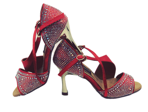 S7172R - Ladies High Performance Dance Sandals in Red Satin with Gem Stones