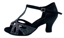 Load image into Gallery viewer, S203B - Ladies Black Satin with Rhinestone T-Bar Design Open Toe Dance Sandal