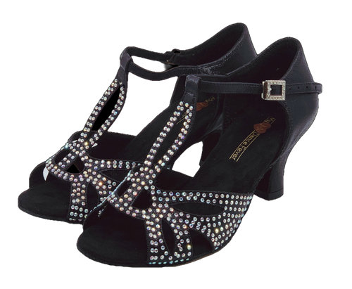 S203B - Ladies Black Satin with Rhinestone T-Bar Design Open Toe Dance Sandal