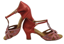 Load image into Gallery viewer, S203R - Ladies Red Rhinestone T-Bar Peep Toe Dance Sandal