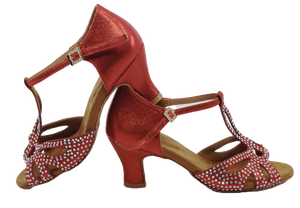 S203R - Ladies Red Rhinestone T-Bar Peep Toe Dance Sandal