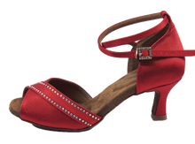 Load image into Gallery viewer, S210R - Ladies Red Rhinestone Open Toe Dance Sandal