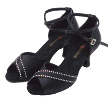 Load image into Gallery viewer, S210B - Ladies Black Rhinestone Open Toe Dance Sandal