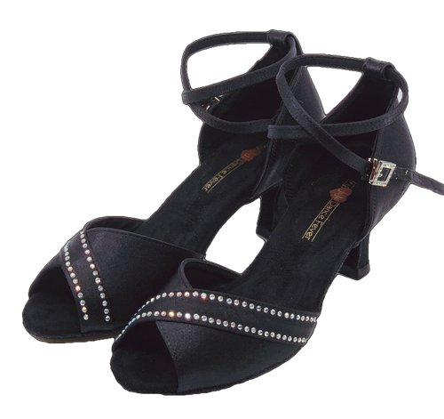 S210B - Ladies Black Rhinestone Open Toe Dance Sandal