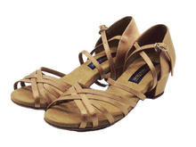 Load image into Gallery viewer, 5525 - Low Cuban Heel Dance Sandal in Tan