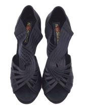 Load image into Gallery viewer, S7388 - Ladies Uqniue Salsa Dance Sandal in Black Satin