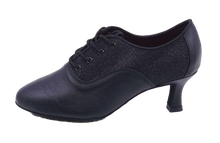 Load image into Gallery viewer, 2063a - Ladies Black Leather and Ultra Fine Glitter Teaching and Practice Dance Shoe