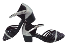 Load image into Gallery viewer, S223D - Ladies Cuban Heel Dance Sandal in Black Leather