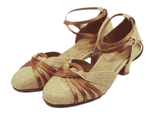 Load image into Gallery viewer, S7382G - Ladies Closed Toe Dance Shoes in Gold Ultra Fine Glitter