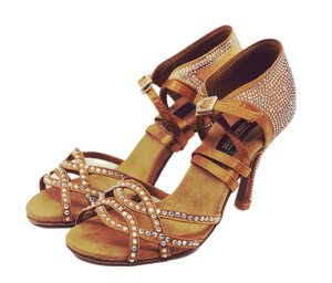 S24 - Ladies Rhinestone High Performance Dance Sandal in Tan