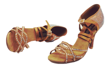 Load image into Gallery viewer, S24 - Ladies Rhinestone High Performance Dance Sandal in Tan