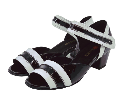 2018BW - Ladies Open Toe Patent Leather Dance Sandal in Black and White