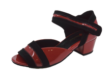 Load image into Gallery viewer, 2018RB - Ladies Open Toe Patent Leather Dance Sandal in Red and Black