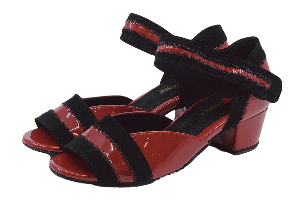 2018RB - Ladies Open Toe Patent Leather Dance Sandal in Red and Black