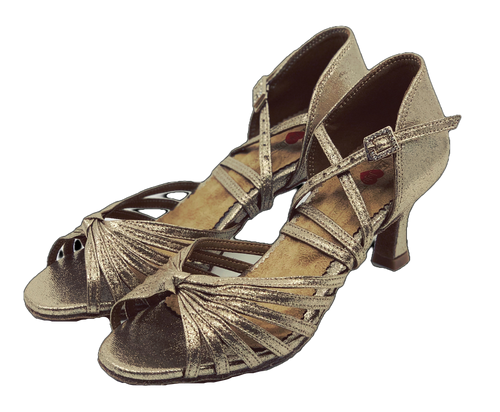 S121 - Ladies Latin Dance Sandal in Shimmer Tan
