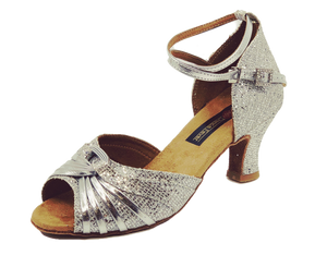S7381 - Ladies Dance Shoe Open Toe Silver Glitter