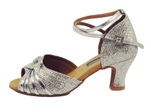 Load image into Gallery viewer, S7381 - Ladies Dance Shoe Open Toe Silver Glitter