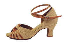 Load image into Gallery viewer, S7381T - Ladies Open Toe Gold Glitter Dance Sandal with Diamante Buckle