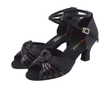Load image into Gallery viewer, S7381B - Ladies Dance Shoe Open Toe Black Glitter