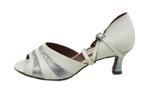 Load image into Gallery viewer, S249 - Ladies White and Silver Glitter Peep Toe Dance Sandal