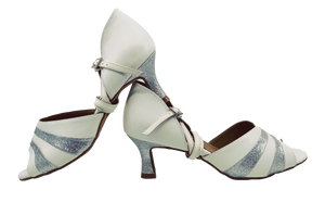 S249 - Ladies White and Silver Glitter Peep Toe Dance Sandal