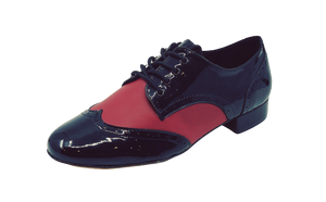 7811BR - Gentlemen's Black and Red Patent Leather Wingtip Lace Up Dance Shoes