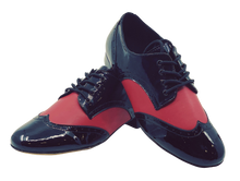 Load image into Gallery viewer, 7811BR - Gentlemen's Black and Red Patent Leather Wingtip Lace Up Dance Shoes