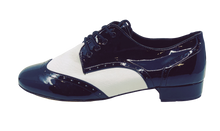 Load image into Gallery viewer, 7811BW - Gentlemen's Black and White Patent Wingtip Leather Lace Up Dance Shoes