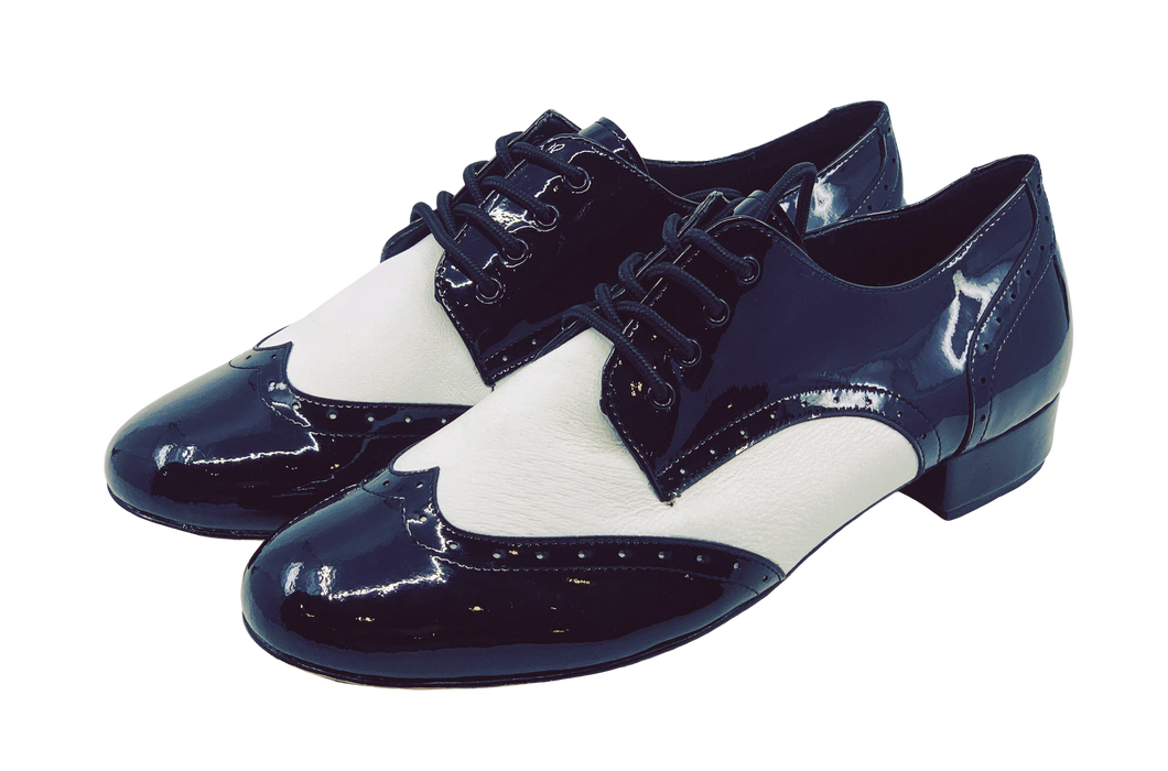 7811BW - Gentlemen's Black and White Patent Wingtip Leather Lace Up Dance Shoes