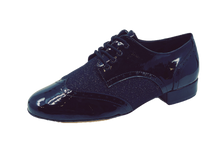 Load image into Gallery viewer, 7811B - Gentlemen's Black Leather and Black Ultra Fine Glitter Lace Up Dance Shoes