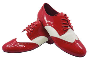 7811RW - Gentlemen's Red and White Patent Leather Wingtip Lace Up Dance Shoes