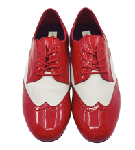Load image into Gallery viewer, 7811RW - Gentlemen's Red and White Patent Leather Wingtip Lace Up Dance Shoes