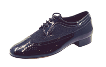 Load image into Gallery viewer, 7816BG - Gentlemen's Black Patent Leather & Black Glitter Lace Up Dance Shoes