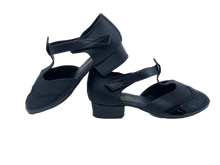 Load image into Gallery viewer, 6605R - Ladies Black Leather T-Bar Character Dance Shoes with Velcro Strap and Resin Sole