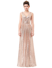 Load image into Gallery viewer, KK000199 - Ladies Long Sequence Rose Gold Formal Dress