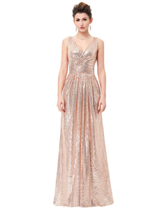 KK000199 - Ladies Long Sequence Rose Gold Formal Dress