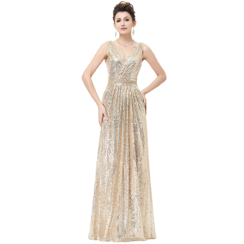 KK000199G - Ladies Long Gold Sequence Formal Wear