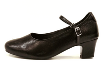 Load image into Gallery viewer, E29 - Ladies Black Leather Court Dance Shoes