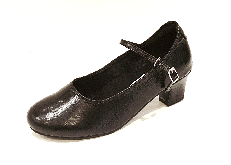 E29 - Ladies Black Leather Court Dance Shoes