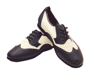 7817BW - Gentlemen's Wingtip Black and White Leather Flat Smooth Rubber Sole Dance Shoes