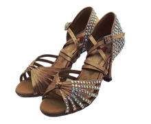 Load image into Gallery viewer, S125TC - Ladies High Performance Dance Sandal in Tan Satin with Rhinestones