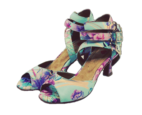 S248F - Ladies Exclusive Floral Open Toe Dance Sandal
