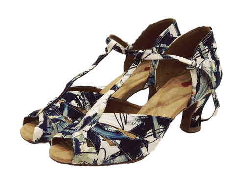 S230P - Ladies Peep Toe Dance Sandal in Exclusive Pattern